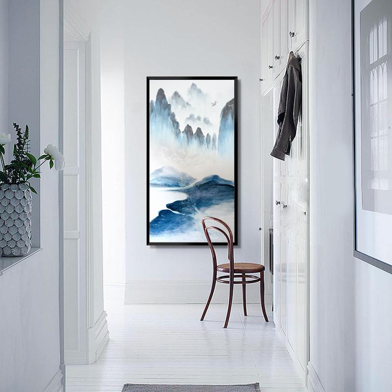 新中式客厅 水墨挂画 玄关 走廊过道装饰画现代简约山水禅意 竖版图片