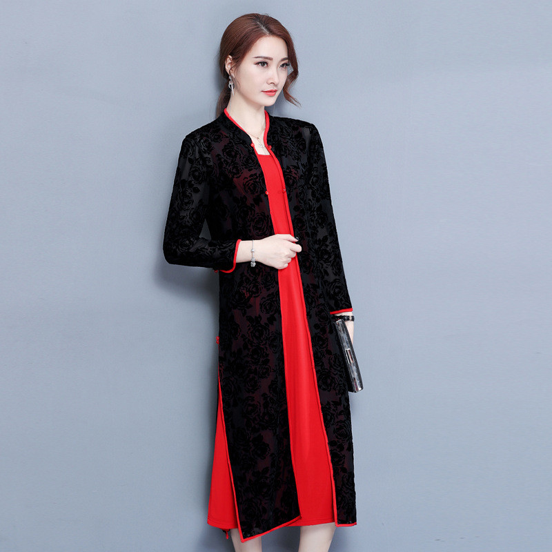 阿妮萱2017中年女装秋装开衫套装两件套过膝旗袍连衣裙大码妈妈夏装图片
