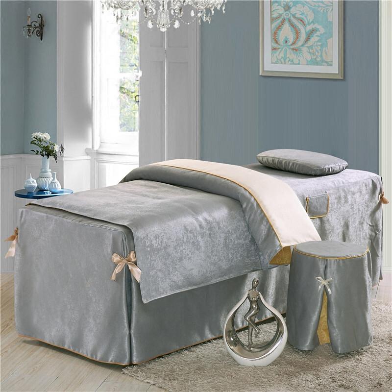 美容床罩四件套纯色纯棉欧式贴花美容院专用床罩丝绒按摩床套定做_1