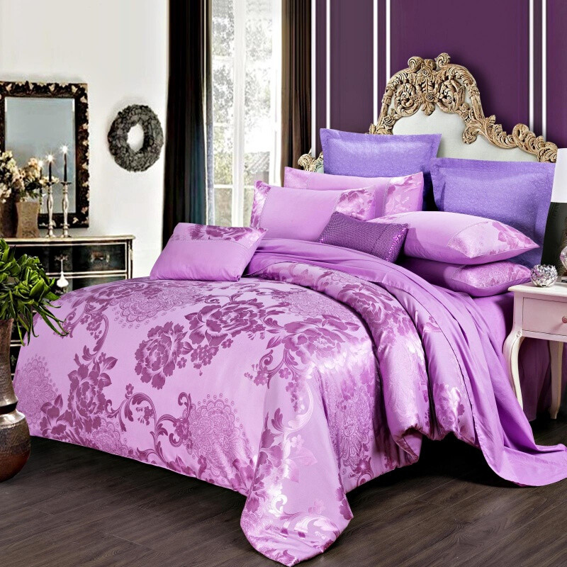 欧式婚庆全棉贡缎提花1.8床上四件套纯棉床单双人被套2.02.