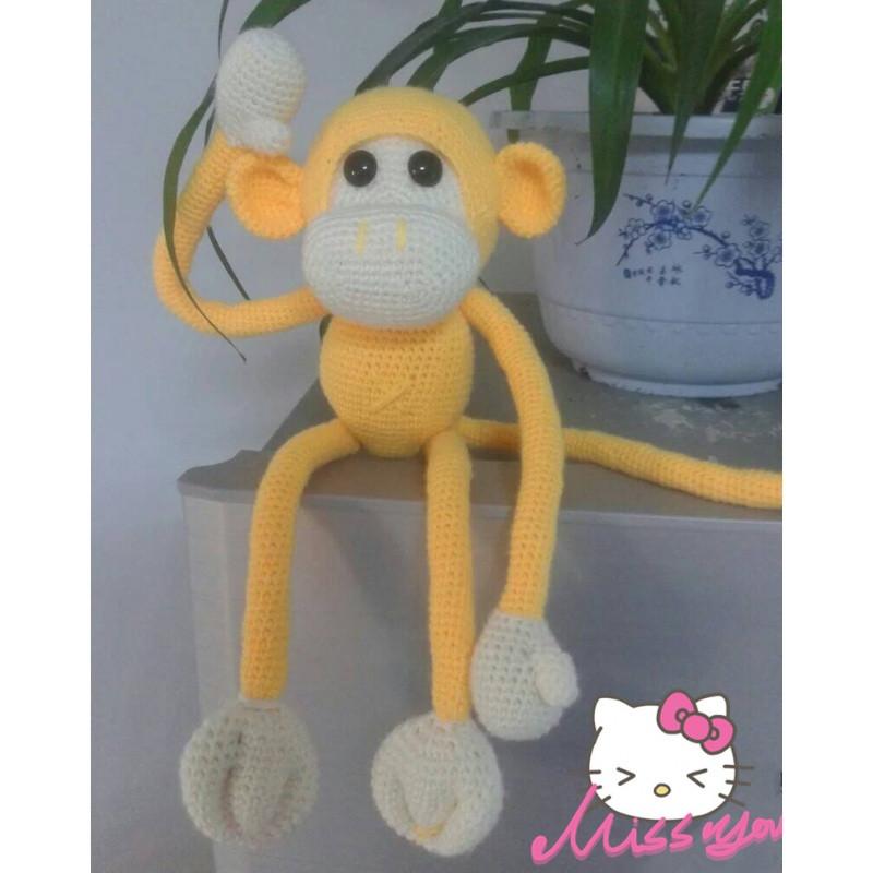 110新款钩针手工diy宝宝牛奶棉长臂猴玩偶材料包毛线编织送0基础视频