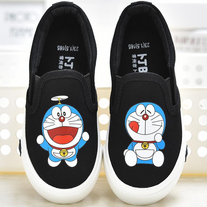 新款女童帆布鞋儿童布鞋小白鞋男童鞋子涂鸦卡