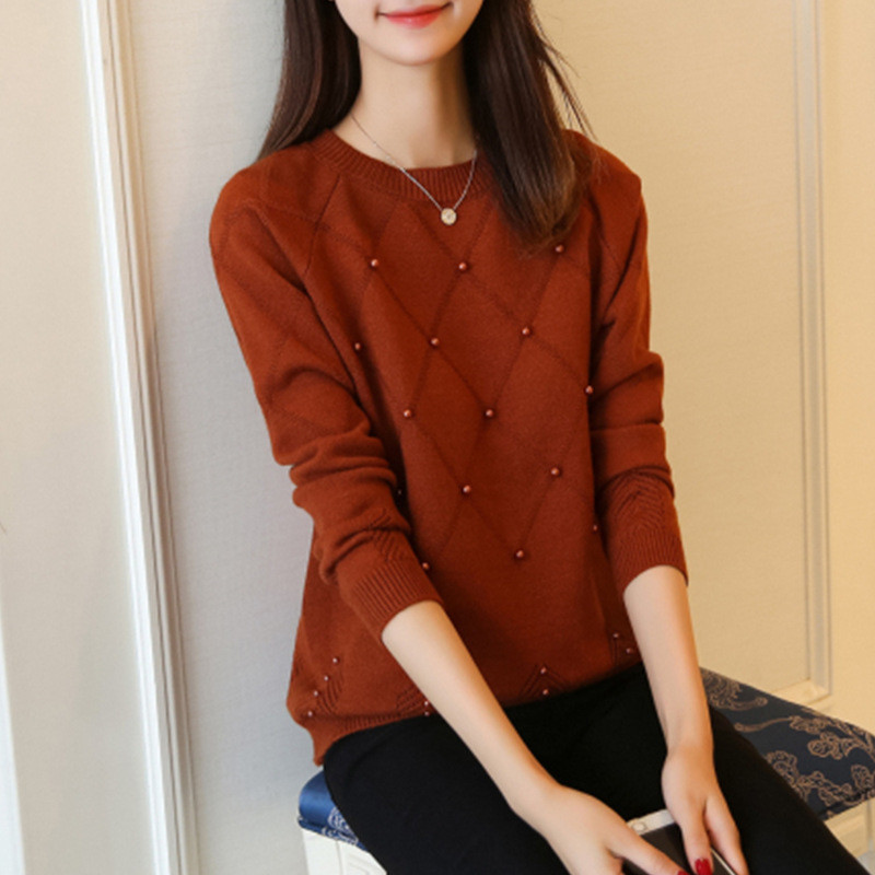 韩版圆领钉珠宽松短款针织衫女秋冬纯色短款毛