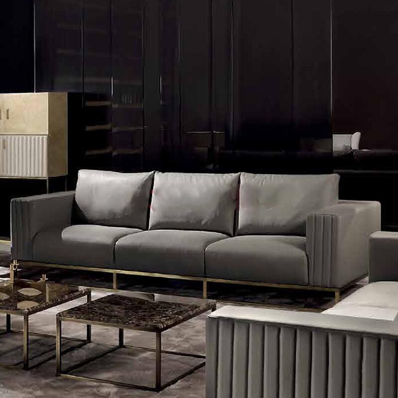 后现代不锈钢沙发 头层牛皮 北欧风格极简客厅组合家具 酒店大堂样板