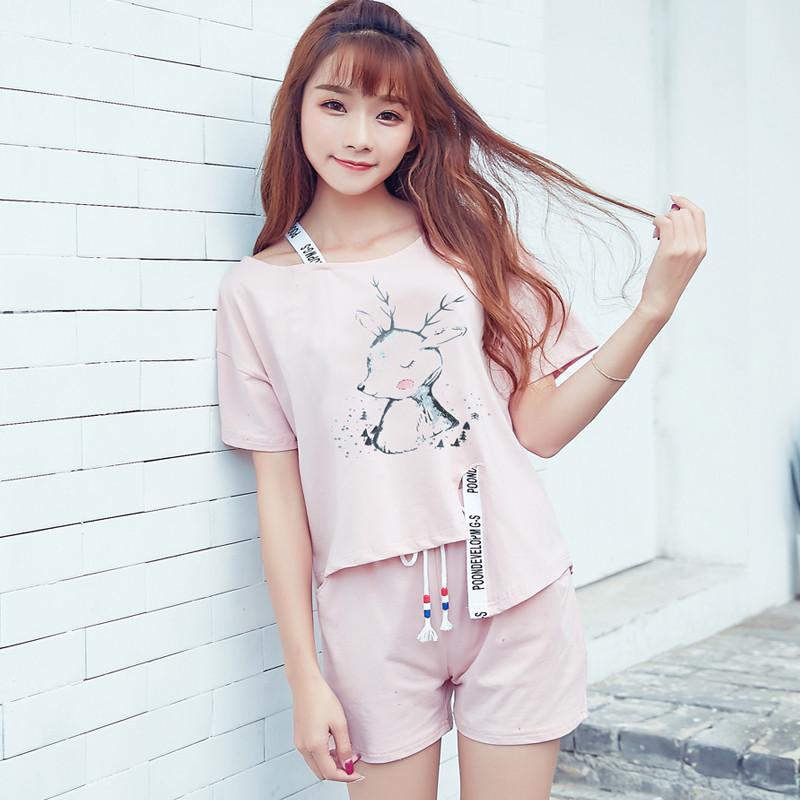 睡衣夏女短袖套装韩版宽松甜美可爱清新学生纯棉家居服两件套夏季_1