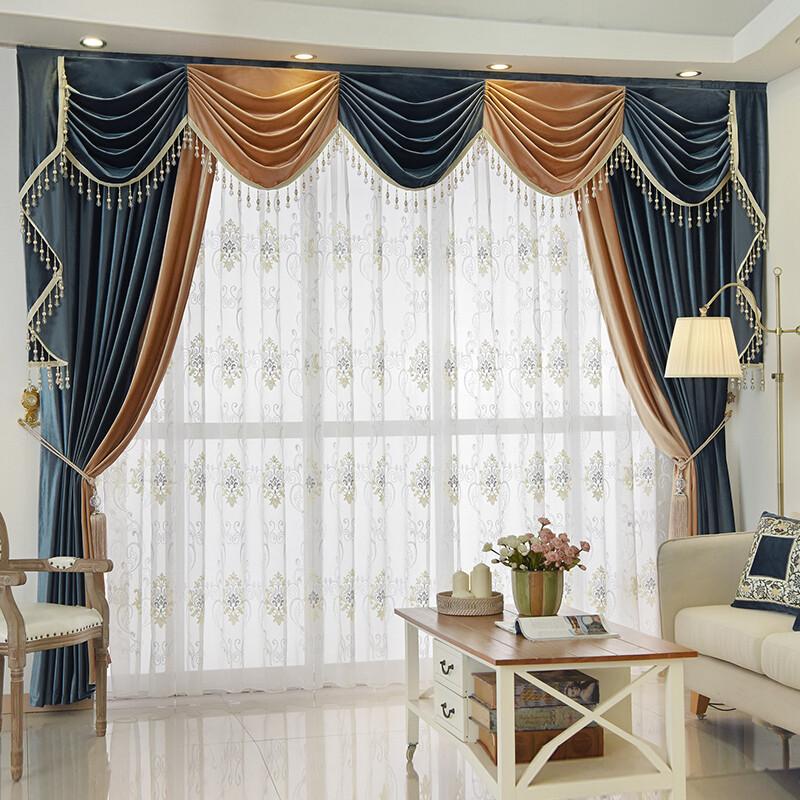 高档欧式加厚遮光纯色丝绒布窗帘头幔客厅卧室别墅定制紫色拼波一米布