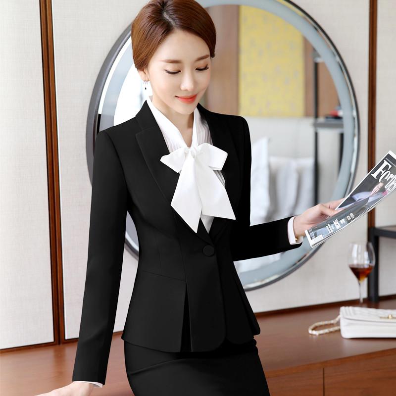 职业套装领女冬装气质显瘦长袖西装珠宝酒店前