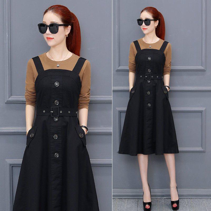 2017新款秋装连衣裙女套装时尚女装秋款时髦气质淑女背带裙两件套 s图片