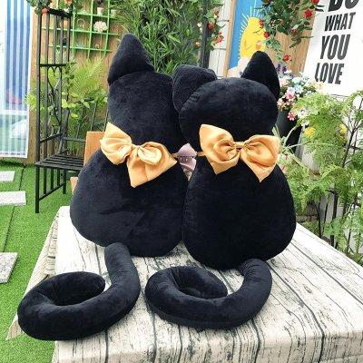 欢乐颂曲筱绡同款背影猫咪抱枕黑猫公仔毛绒玩具生日礼物玩偶 毛绒