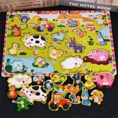 31_1-2-3岁幼儿童手抓板木质拼图 宝宝早教蔬菜水果数字字母认知拼板