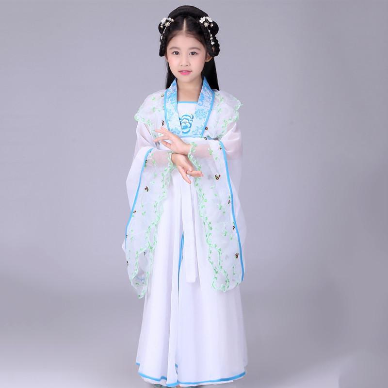 儿童古装仙女装女童仙女装贵妃服装汉服儿童古典舞舞蹈演出服装古典舞