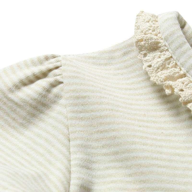 occhome蛋生彩棉系列绿白条纹长袖圆领花边t恤衫bwc