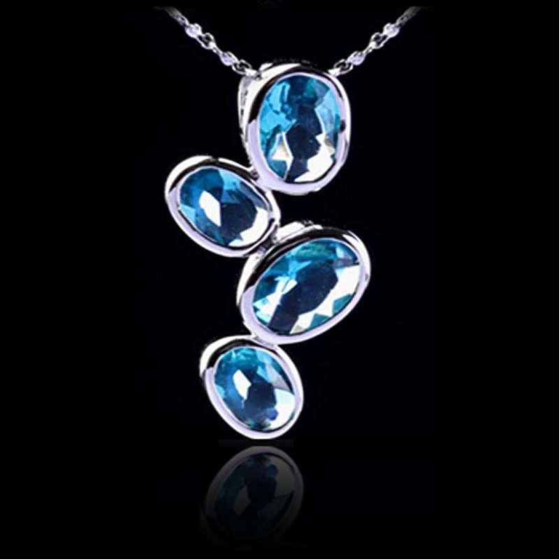 法国idee水滴项链女设计师推荐蓝水晶925纯银吊坠饰品
