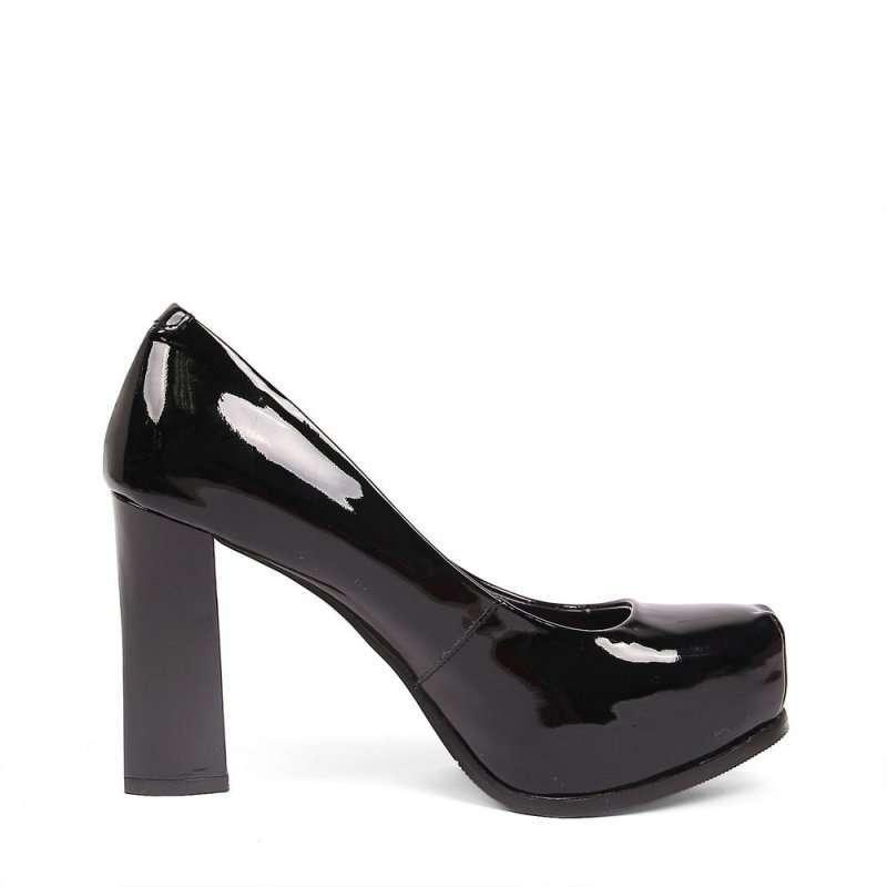 senda/森达黑漆牛女单鞋4jz04d黑色35