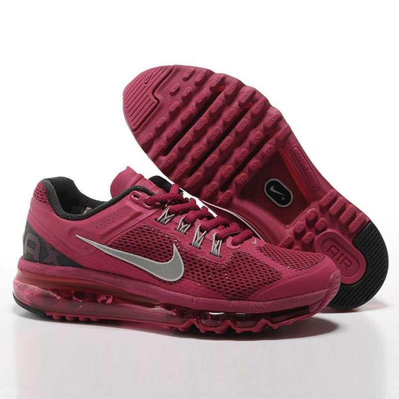 耐克air max+2013全掌气垫女跑步鞋555363-602暗红38