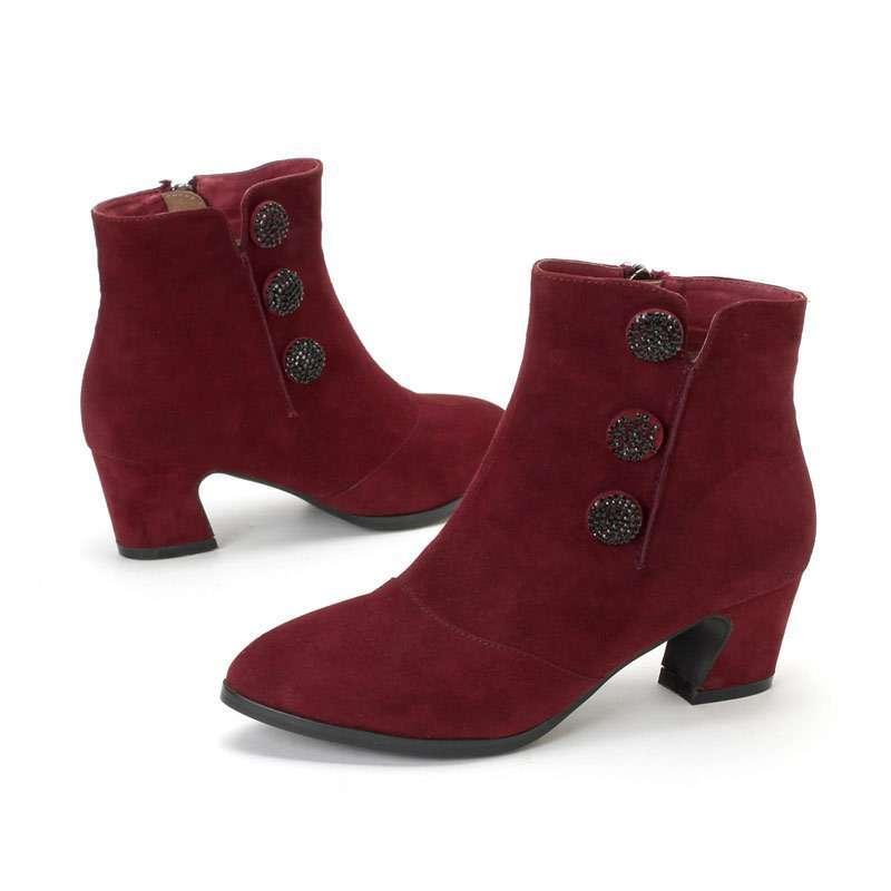服装鞋帽 女鞋 靴子 哈森harson新款韩版羊皮水钻尖头.图片