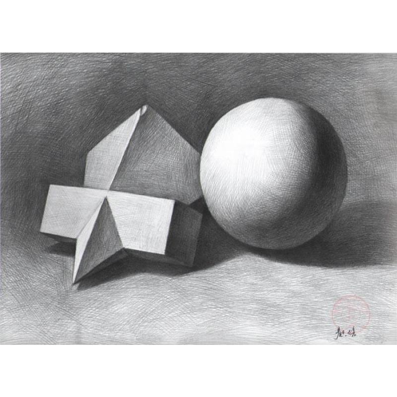 石膏几何体 正方体画法,素描入门视频教程图片
