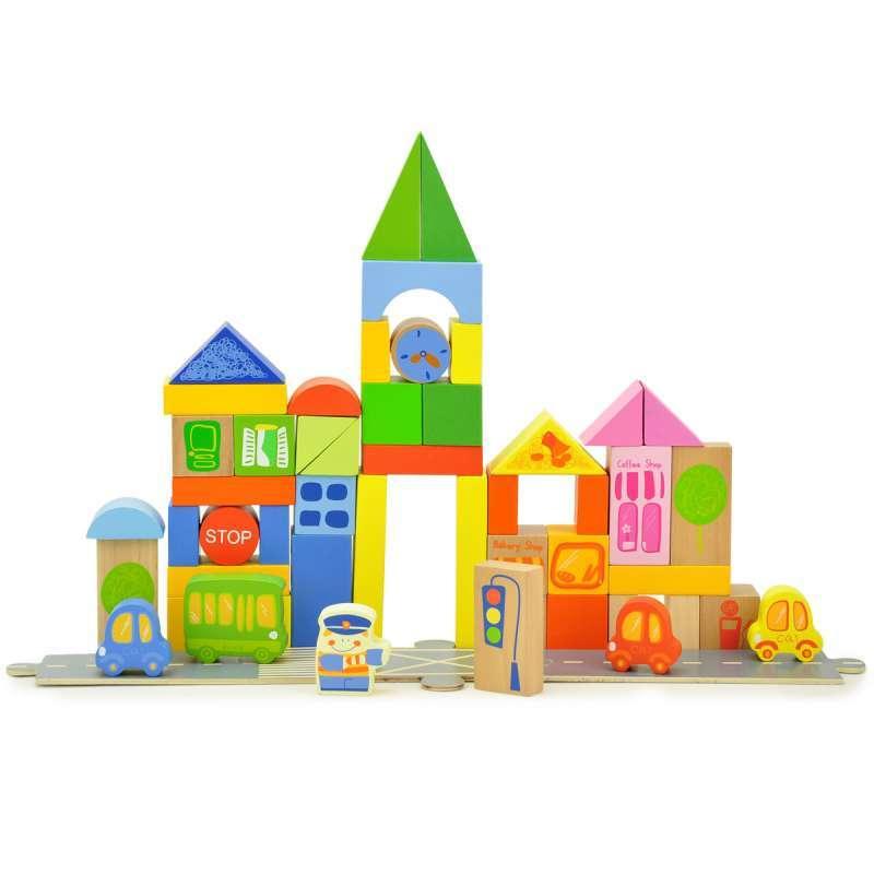 特宝儿 城市积木建筑交通 55粒桶装积木 木制益智玩具 儿童玩具