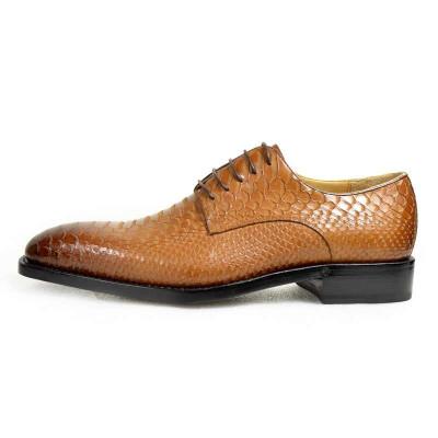 正装皮鞋真皮男鞋固特异纯手工皮鞋蛇皮纹男鞋布洛克