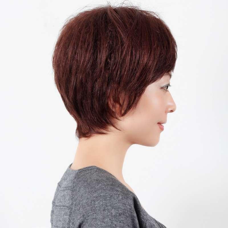 玫瑰雨 时尚妈妈短卷发 真发假发短发女士假发套图片