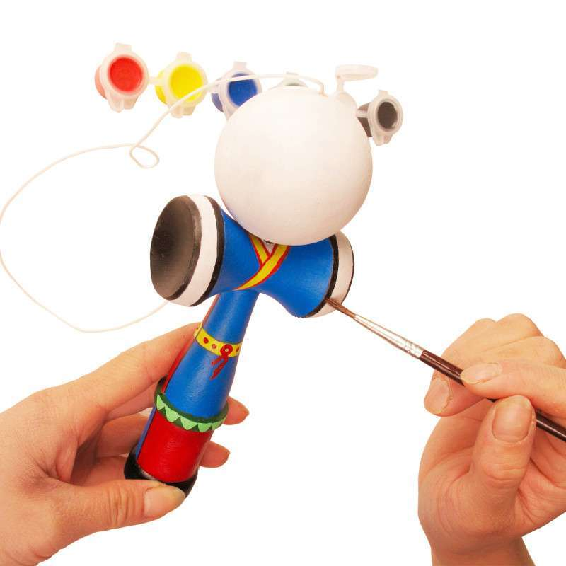原木接球diy手绘材料包 传统儿童涂鸦剑球技巧玩具(含绘画工具)