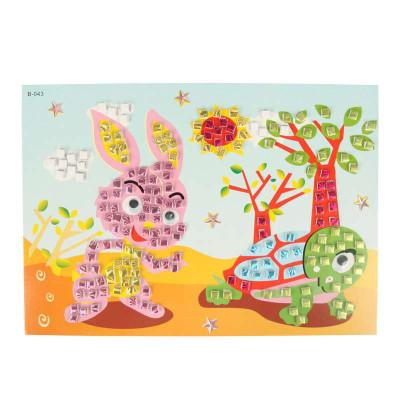 大贸商 3d马赛克立体贴画 卡通手工制作 只售龟兔赛跑