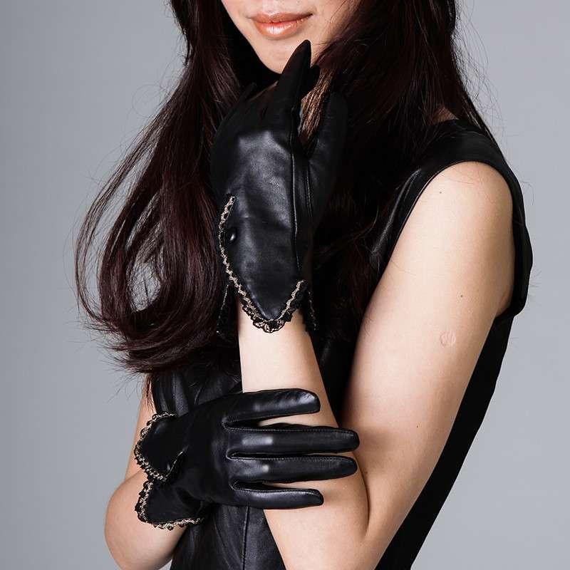 乐为羊皮手套女士冬季可爱真皮手套韩版冬天加厚保暖 黑色