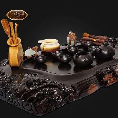 汇邦茶具hb-7703黑檀木整块实木精雕刻茶盘 双龙戏珠茶具套装配hb