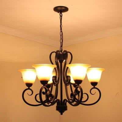 欧式复古仿古黄玻璃吊灯客厅灯卧室灯具餐厅灯饰图片