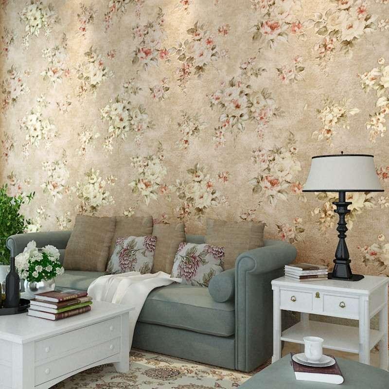 复古欧式经典田园风格壁纸卧室小