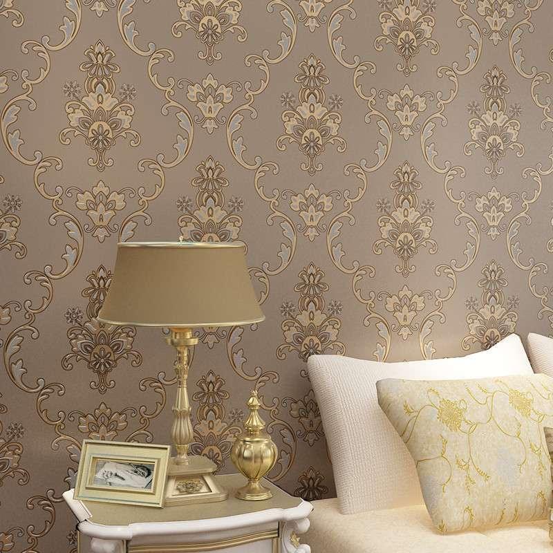 本木古罗马经典欧式奢华皇家大马士革无纺布壁纸客厅