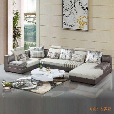 俏夫人大户型沙发 时尚大气客厅双妃位组合布艺沙发