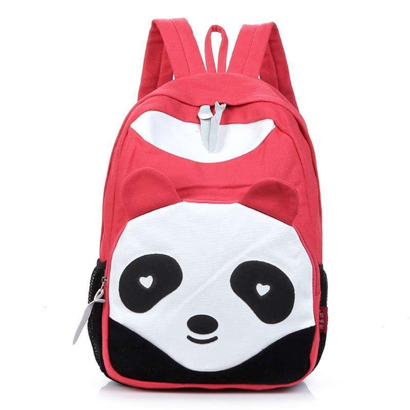 绿泽尚品新款九色熊猫双肩包 休闲潮帆布双肩背包 可爱学生书包 红色