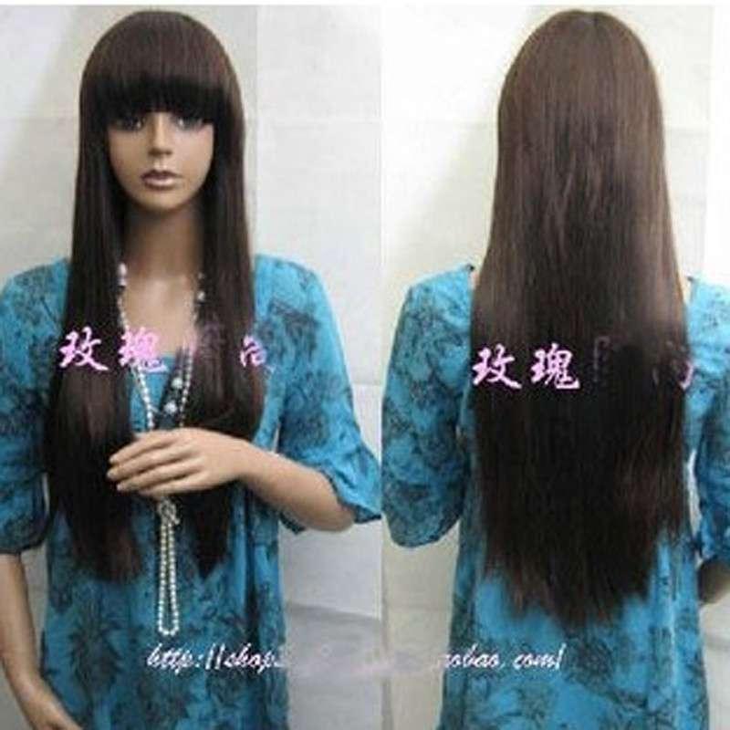 玫瑰雨假发*非主流*新发型齐刘海长直发图片
