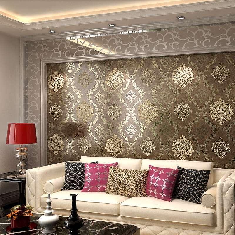 本木背景墙电视墙纸 时尚简约欧式客厅个性卧室房间黄色环保壁纸