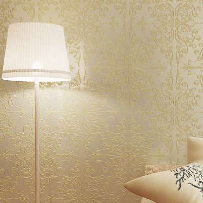 菱形大花墙纸欧式无纺布大马士革卧室房间个性壁纸
