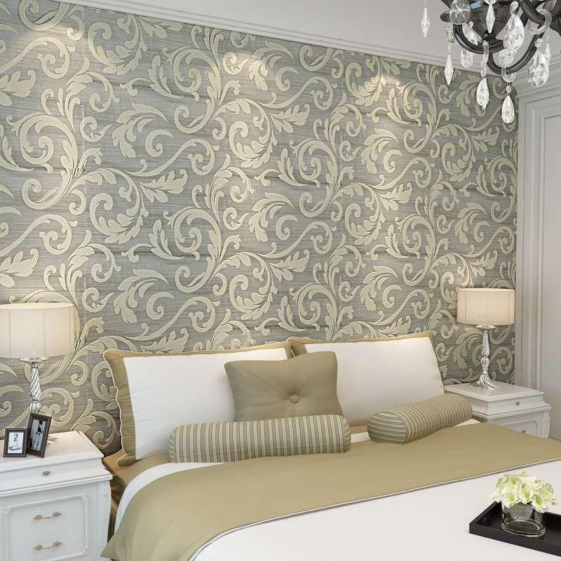 欧式莨苕叶壁纸立体水晶客厅