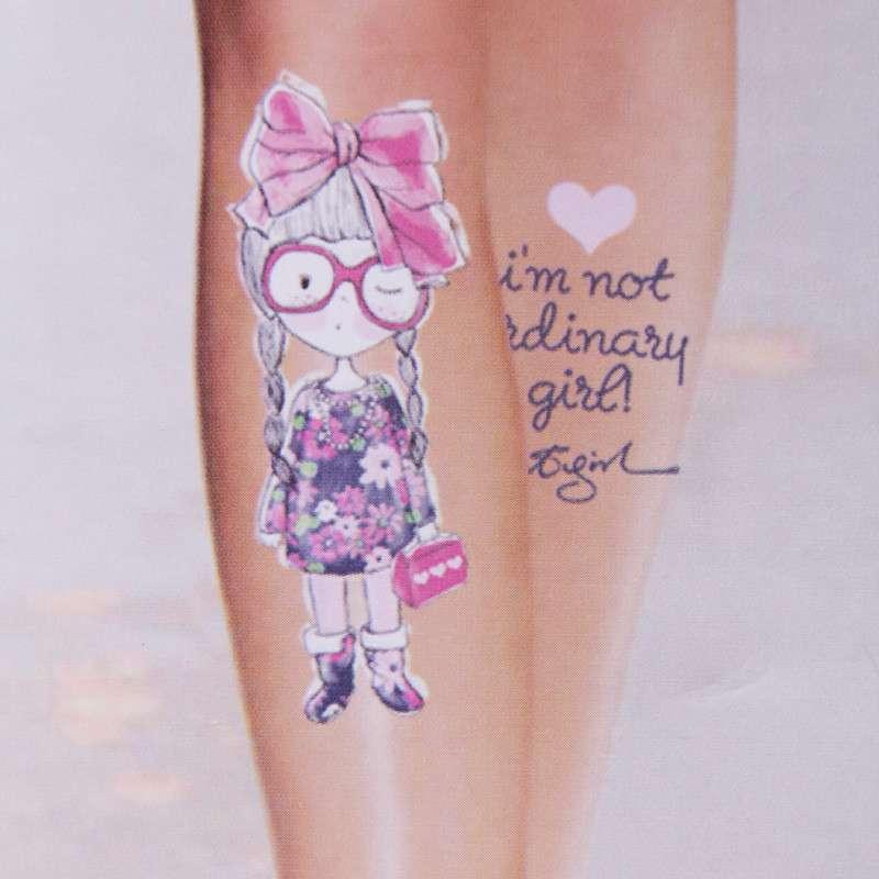 可爱女孩超薄显瘦假纹身连裤袜