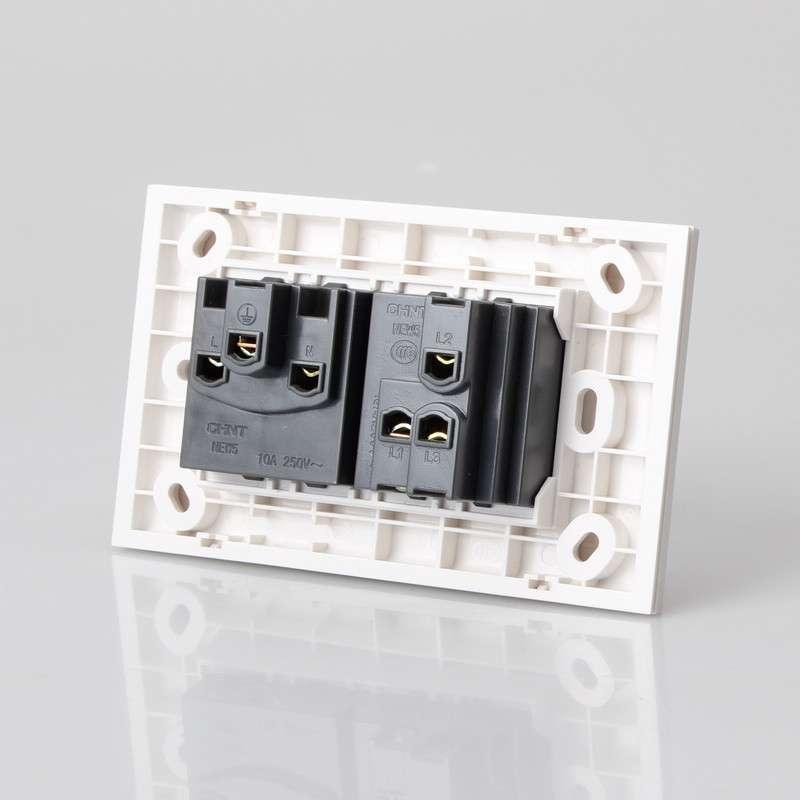 正泰电工 new5g 118型墙壁开关 二位 一开 一插 双控开关带插座