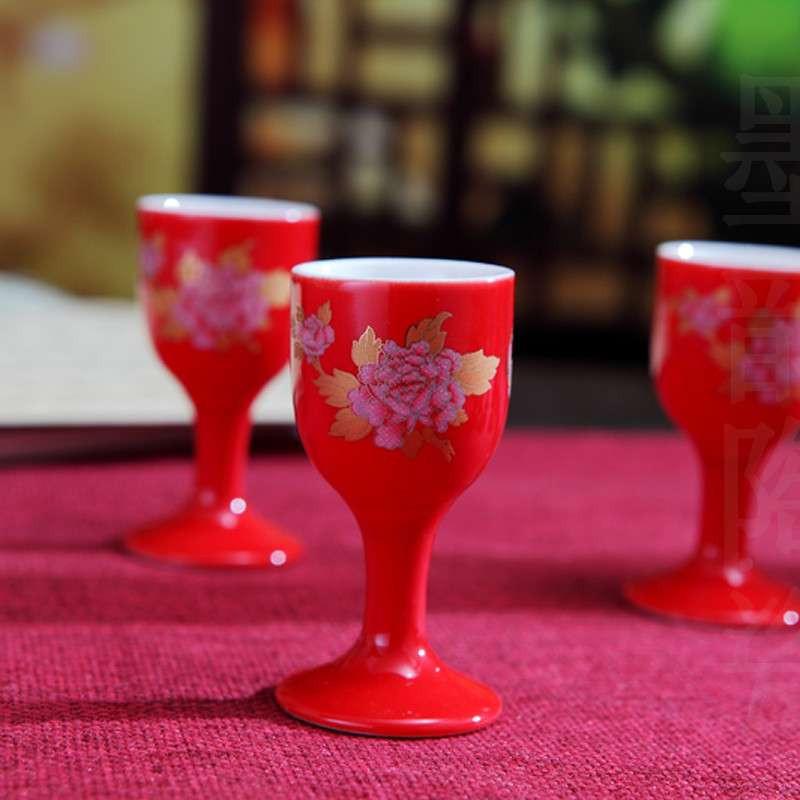 凤卜 金牡丹 白酒杯套装酒具/景德镇品牌陶瓷