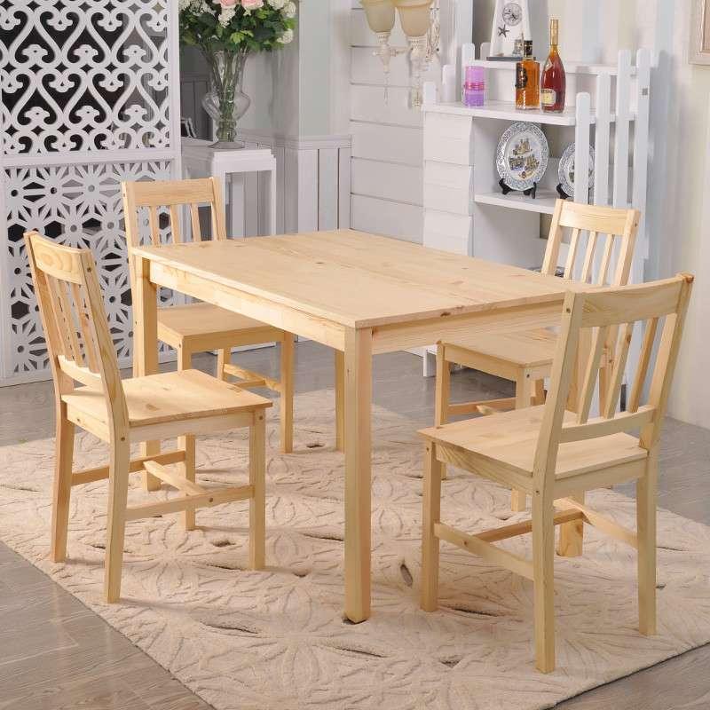 青岛一木家具 松木餐桌椅组合套装 宜家简约田园饭桌子 实木家具 一桌
