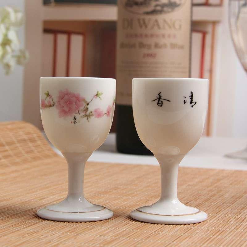 凤卜 水点桃花 白酒杯套装酒具/景德镇品牌陶瓷