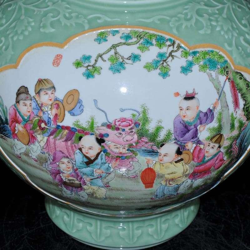 淘瓷缘景德镇名家金宏霞手绘粉彩色釉瓷器花瓶天球瓶摆件深雕瓷器婴戏
