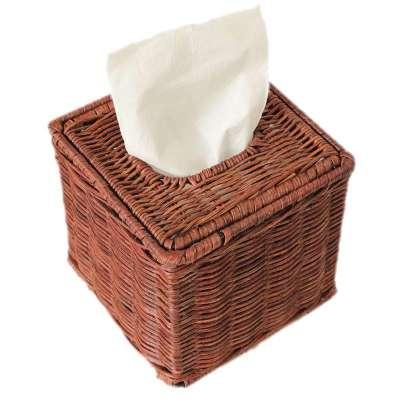 正方形纸巾盒真藤手工编织