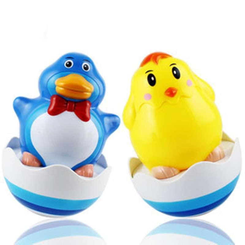 不倒翁 可爱小鸡企鹅戏水玩具 叮咚音乐声 婴儿益智不倒翁