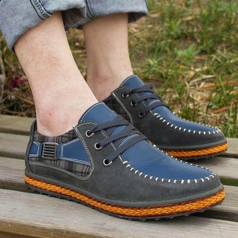【御旗】新款休闲潮鞋流行磨砂漆皮鞋皮革拼接男鞋