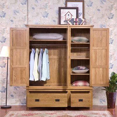 美式衣柜 白橡木质衣橱全实木家具 三门衣柜整体组合大壁橱田园 棕色
