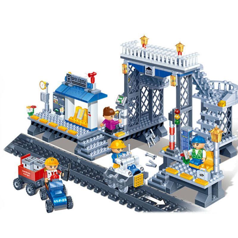 邦宝乐高式v站台狂欢拼装小站台玩具儿童玩具颗粒火车儿童玩具积木汕头市五星积木图片