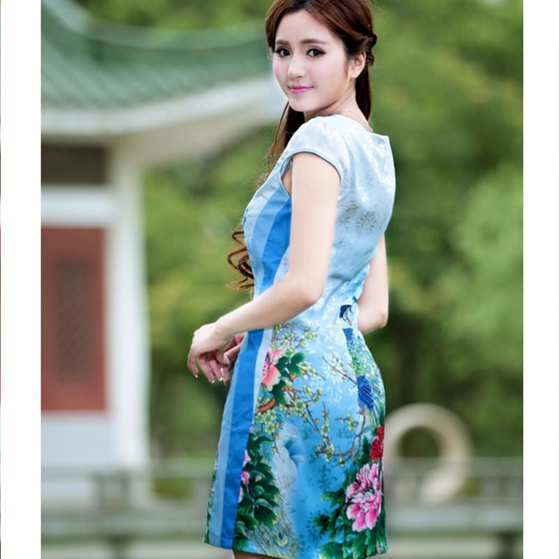 纤倍俪2014女装新款孔雀旗袍复古礼服日常中式改良时尚夏短款旗袍