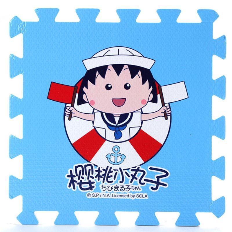 明德海军小丸子儿童爬行垫 泡沫拼图地垫 可爱卡通eva泡沫垫子9片/包